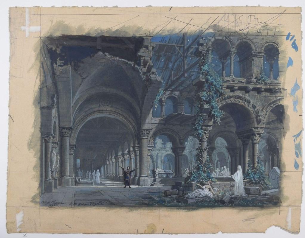 Projet de décor : Robert le Diable, acte III, tableau 2, le cloître, CHAPERON - Portail officiel ...